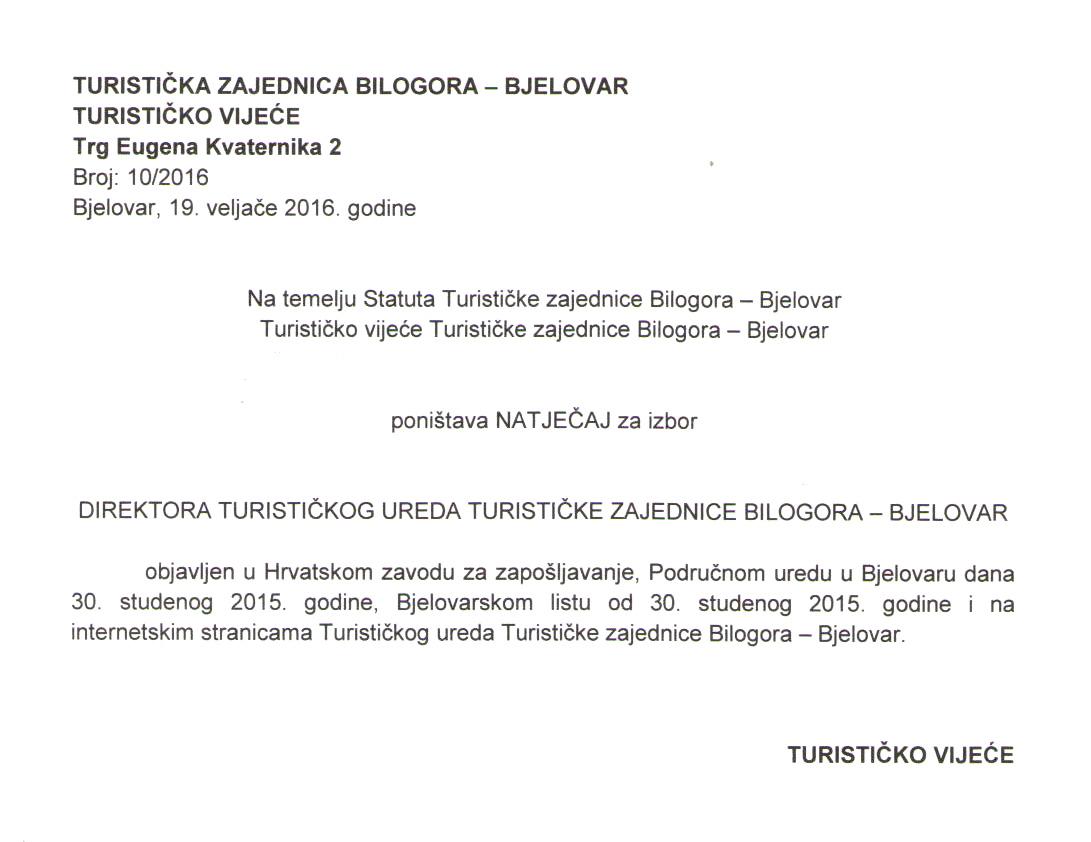 Poništenje natječaja za izbor direktora turističke zajednice Bilogora-Bjelovar